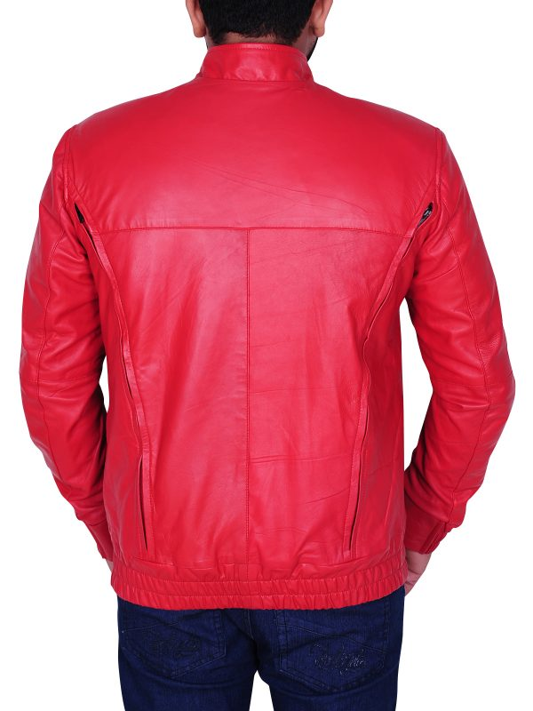fit to body leather jacket, XXL red leather jacket