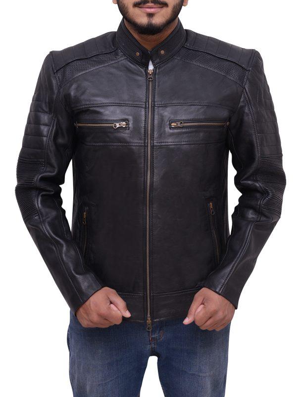 real leather biker jacket, college student leather jacket