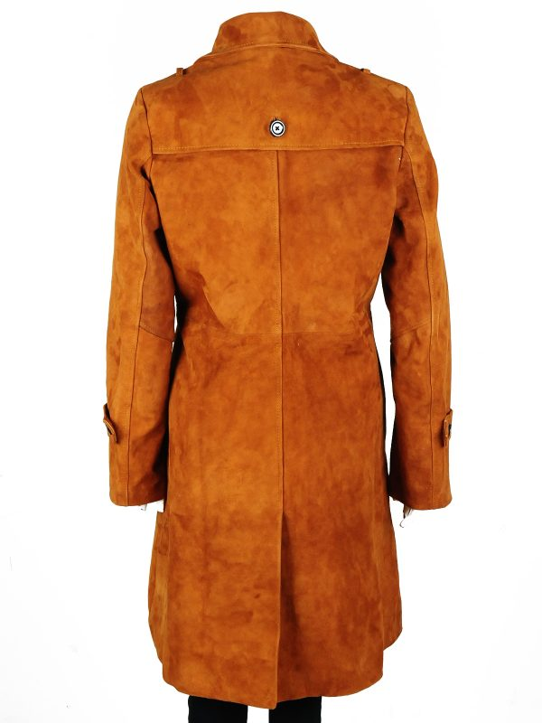 women fashion coat, brown leather female coat