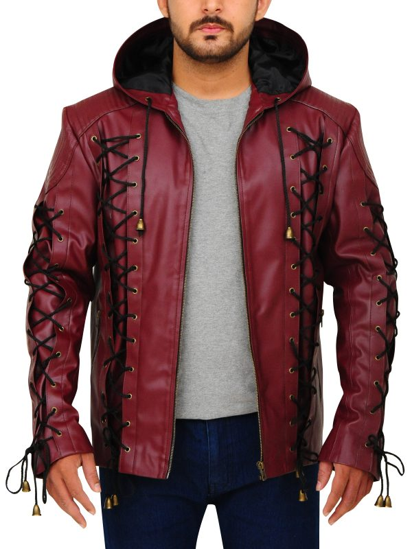 arrow red leather jacket, tv series arrow red jacket,