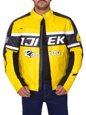 yellow biker leather jacket, body fit biker leather jacket