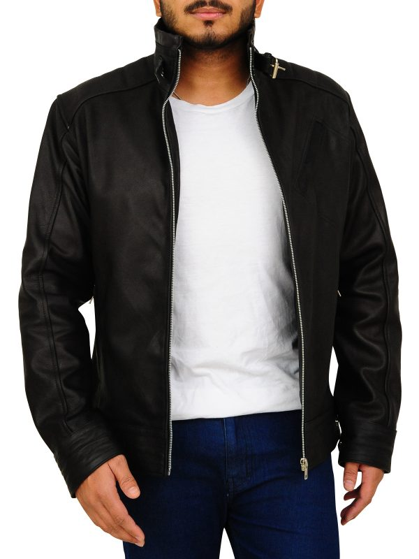 2018 trend black leather jacket, attractive biker leather jacket