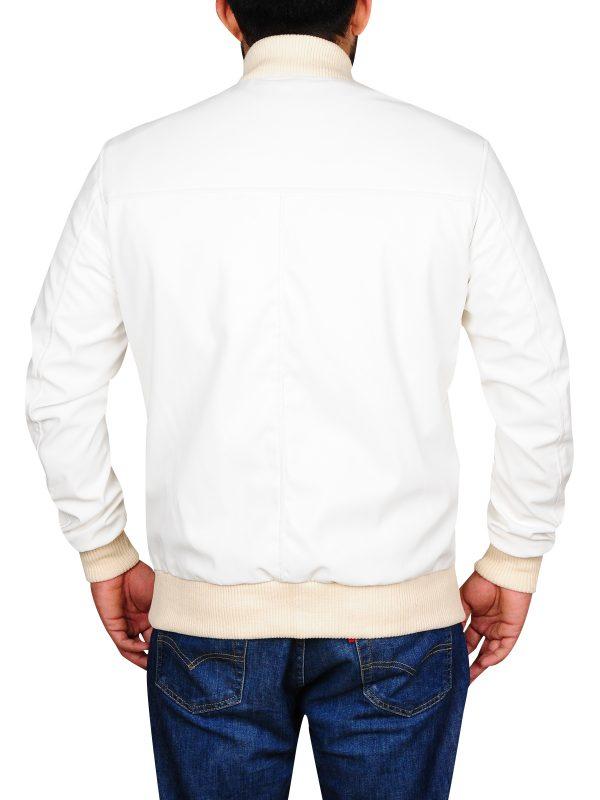 plain white leather jacket, stylish college white jacket