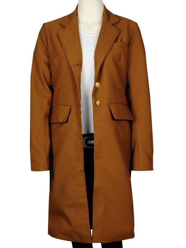 fashionable female long coat, trending brown long coat for female