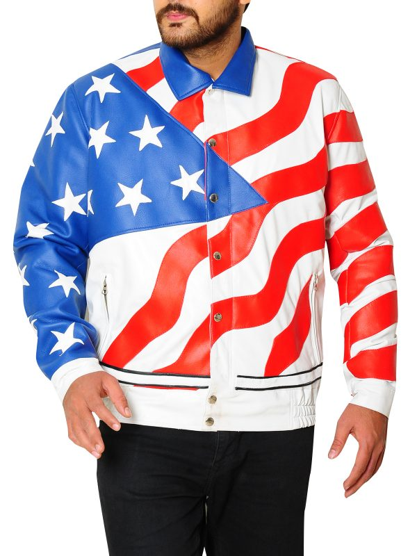 trendy flag leather jacket, american flag rapper jacket