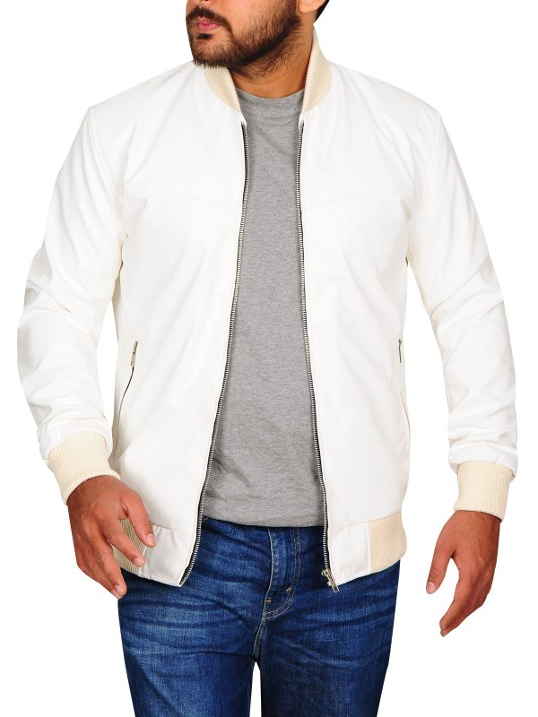 college student white leather jacket, slim fit leather jacket