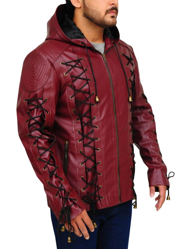 leather jacket with strings, bdsm leather jacket,