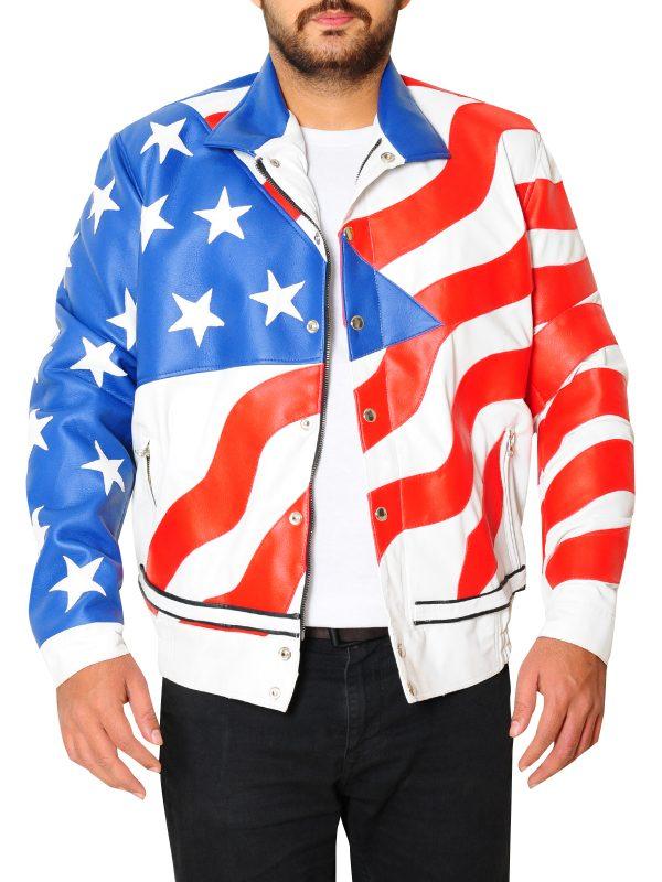 US flag leather jacket, US flag jacket for bikers