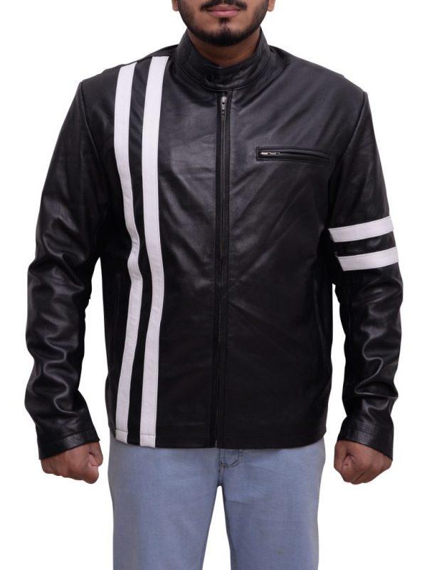 slim fit leather jacket, biker black leather jacket