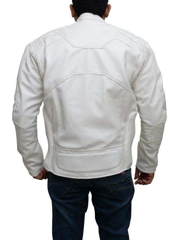 dashing white leather jacket, yamaha white leather jacket