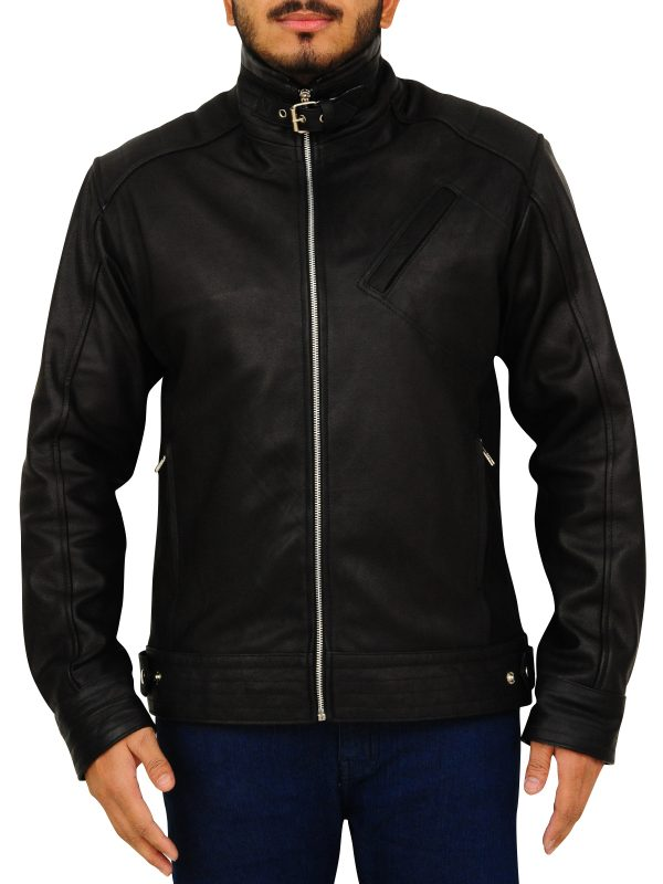 stylish black leather jacket, cheap price leather jacket for college boys