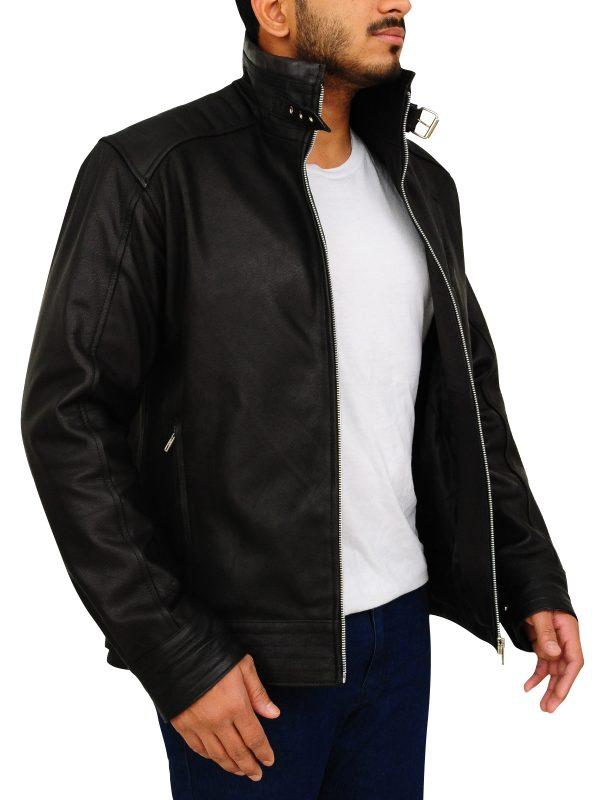 Black leather jacket for men, trendy black leather jacket for men
