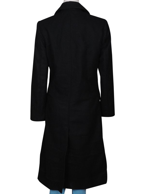 black long coat for young women, stylish long coat