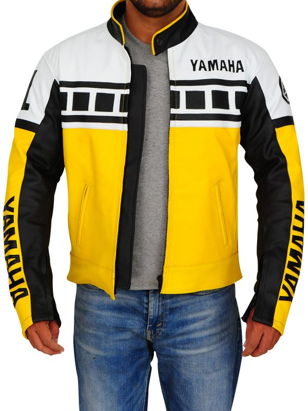 white and yellow biker leather jacket, men yamaha biker leather jacket,