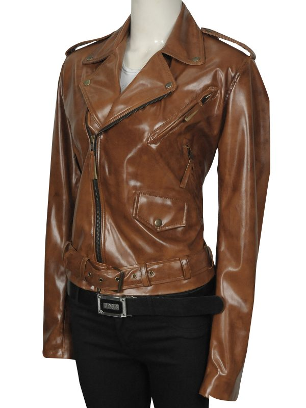 stylish brown leather jacket, attractive brown leather jacket