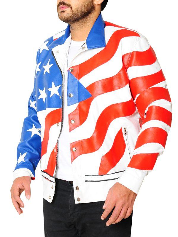 trending american flag leather jacket, biker flag leather jacket