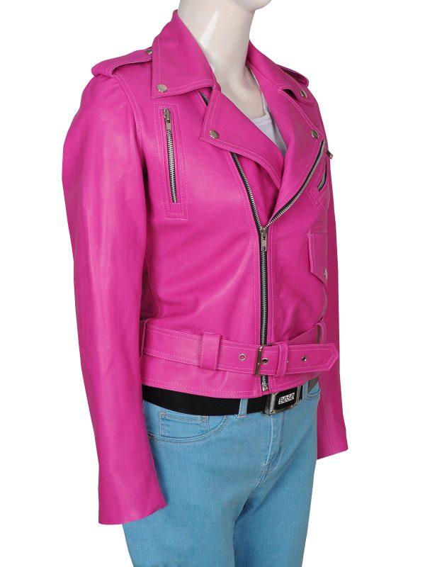 jessica alba pink leather jacket, trendy jessica alba pink jacket