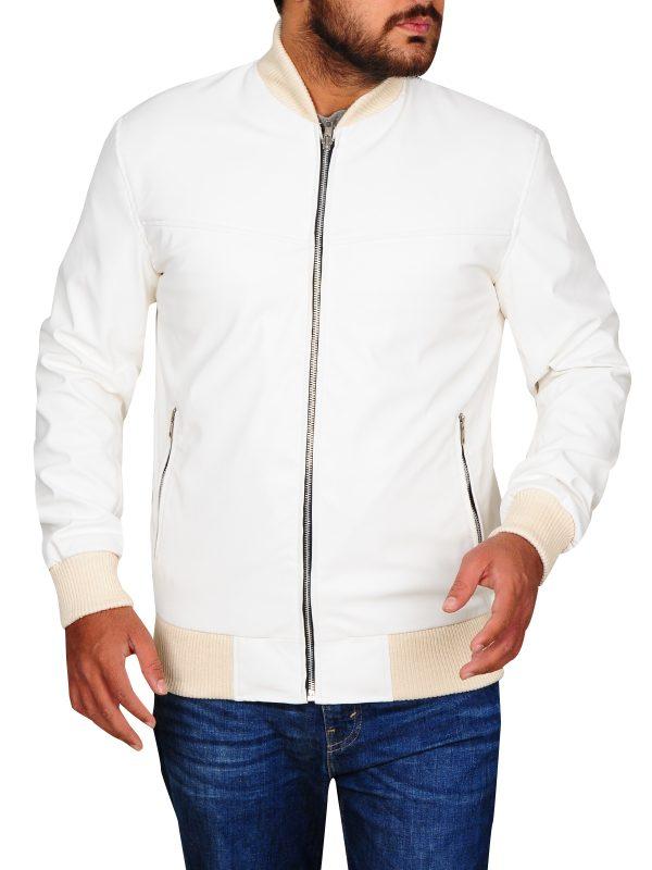 trending white leather jacket, trendy white jacket