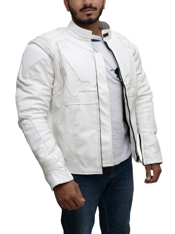 slim fit biker jacket, ducati white leather jacket