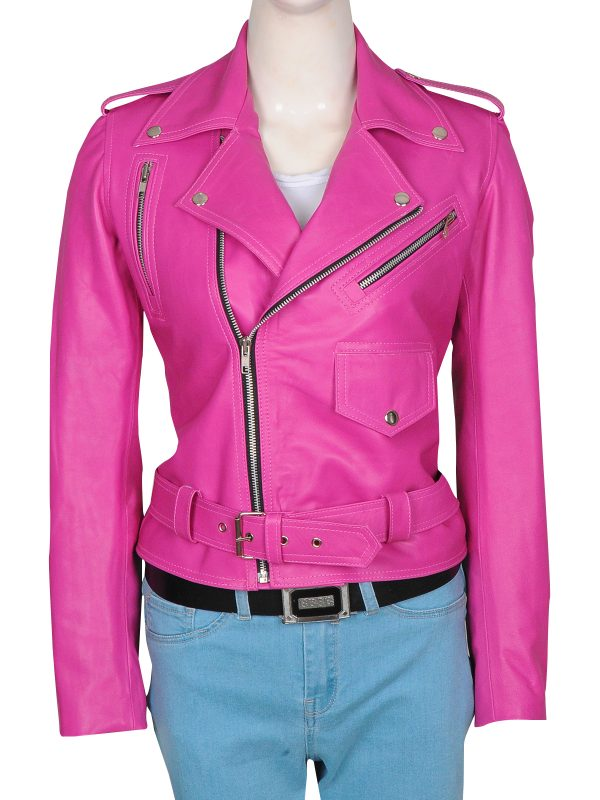 teen pink leather jacket, cool pinky leather jacket