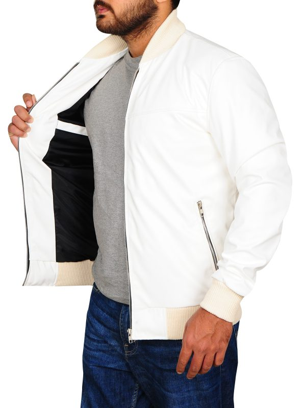 rib knitted white jacket, celebrity leather jacket