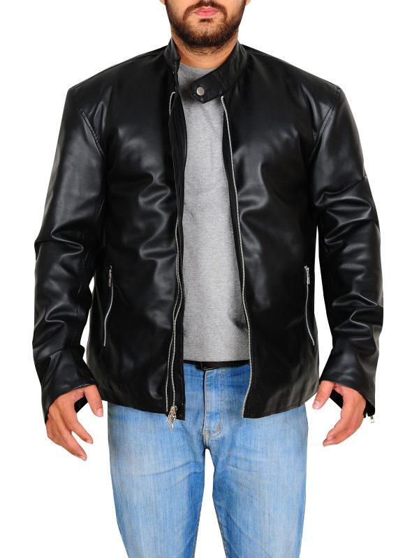 slim fit leather jacket, stylish black leather jacket