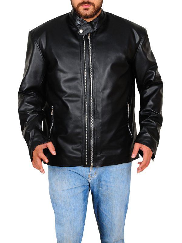 celebrity black leather jacket, cool black leather jacket