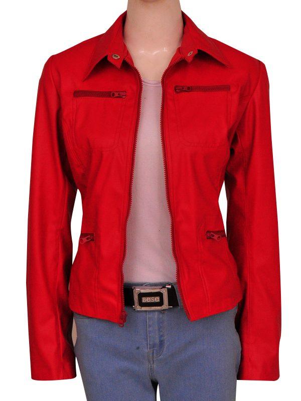 red women leather jacket, red women jacket