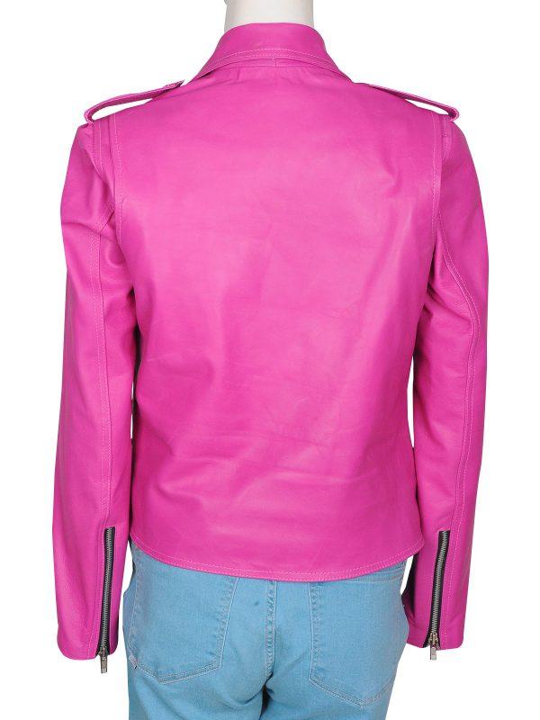 hot pink leather jacket, stylish pink leather jacket