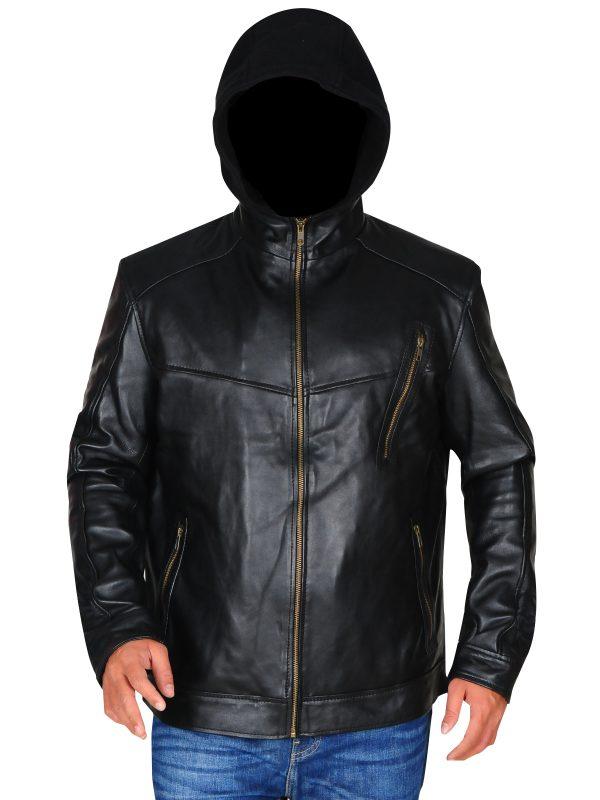 cool black leather jacket for men, black hoodie leather jacket for biker