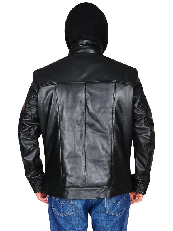 stylish biker leather jacket with hoodie, pure leather jacket