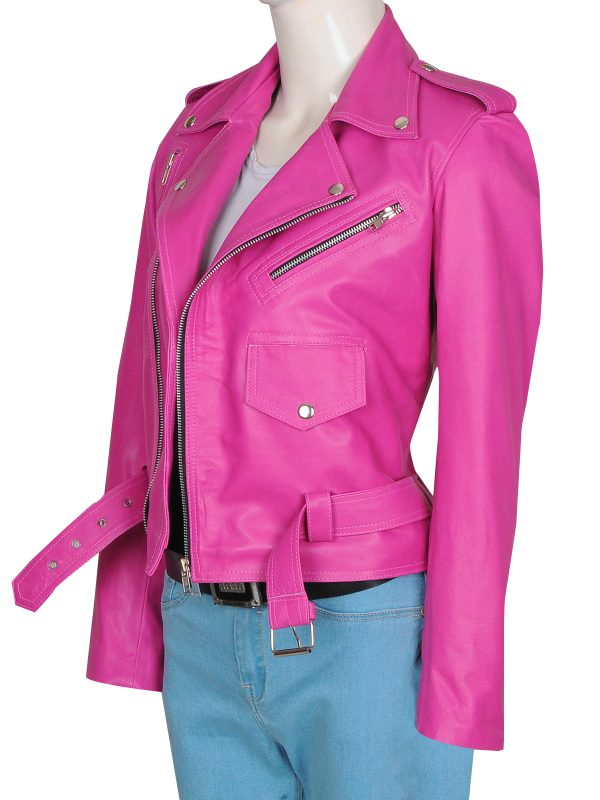 pink leather jacket for college girls, college girls pink jacket