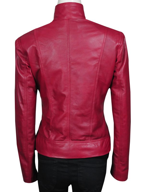 slim fit red leather jacket, real leather red women jacket