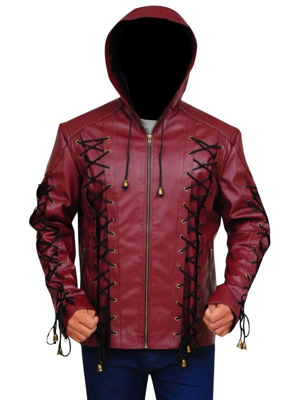 leather jacket with hoodie, cool maroon men jacket,