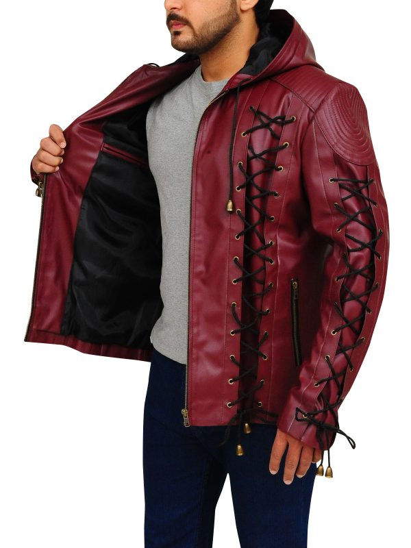 men red leather jacket, body fitted jacket for men,