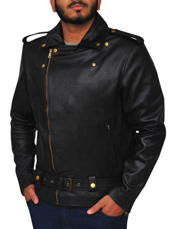 real leather brando jacket, men black brando leather jacket