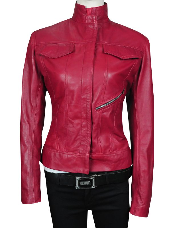 trendy red leather jacket, trendy jacket for girls