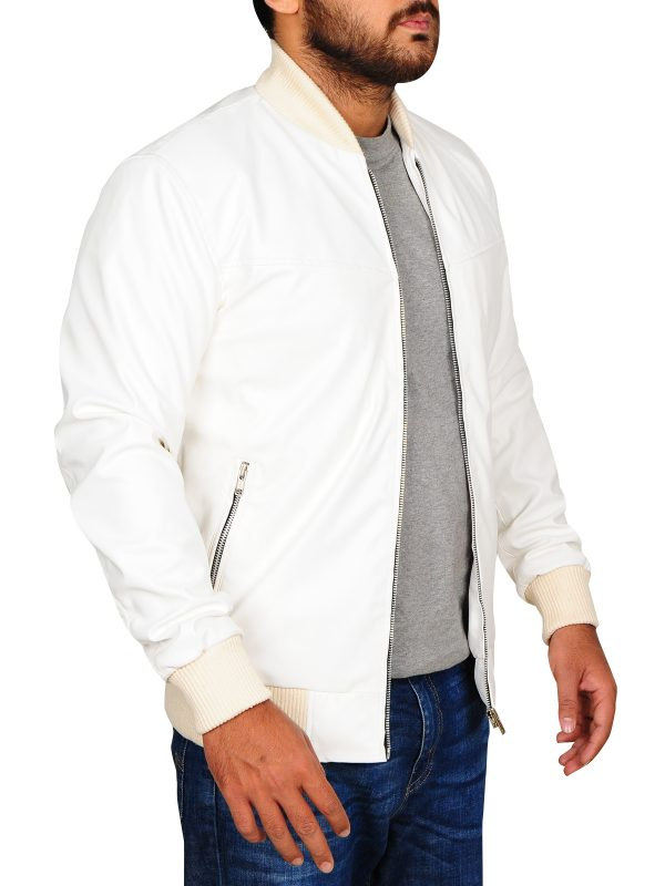 cool white leather jacket, ryan gosling leather jacket