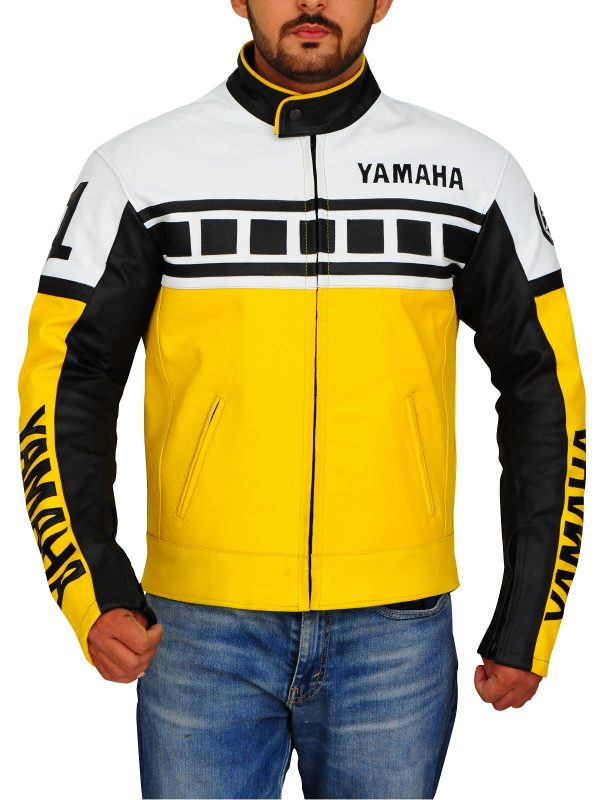 classic biker leather jacket, yamaha brand jacket,