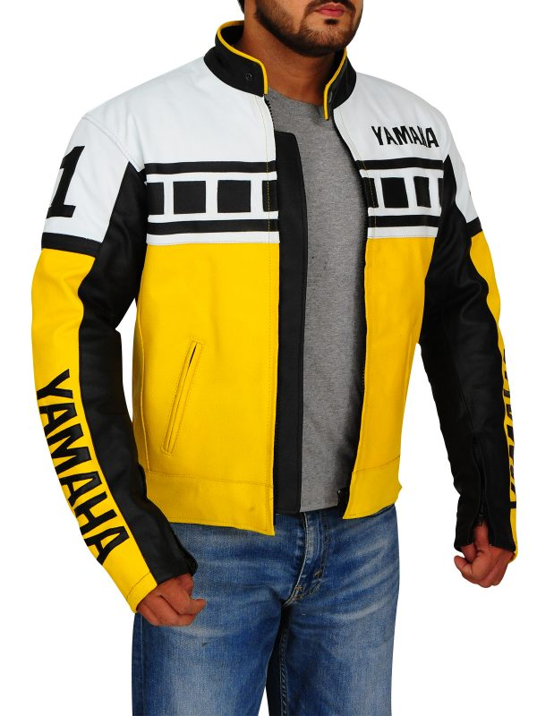yamaha yellow biker leather jacket, men yellow biker leather jacket,
