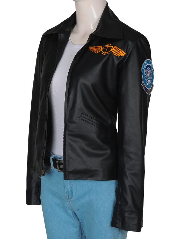 top gun black leather jacket, Kelly McGillis black leather jacket