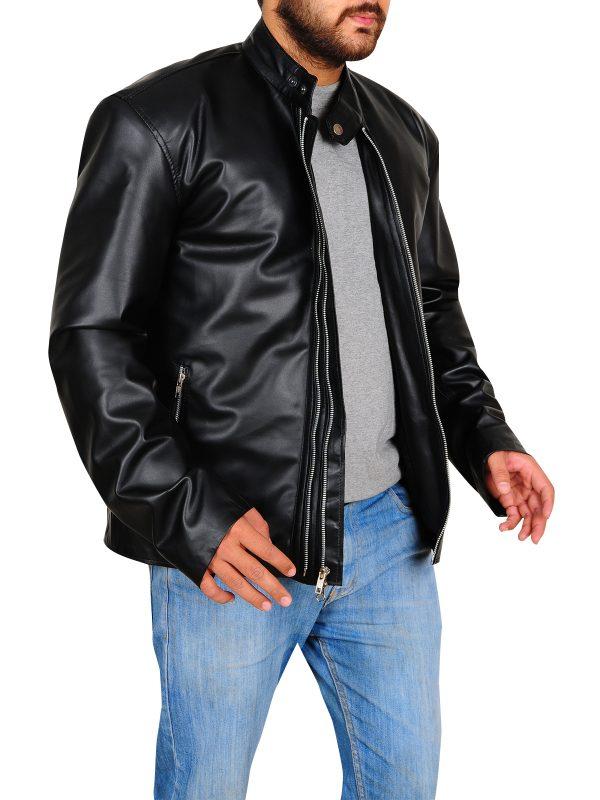 dashing black leather jacket, black jacket for college boys