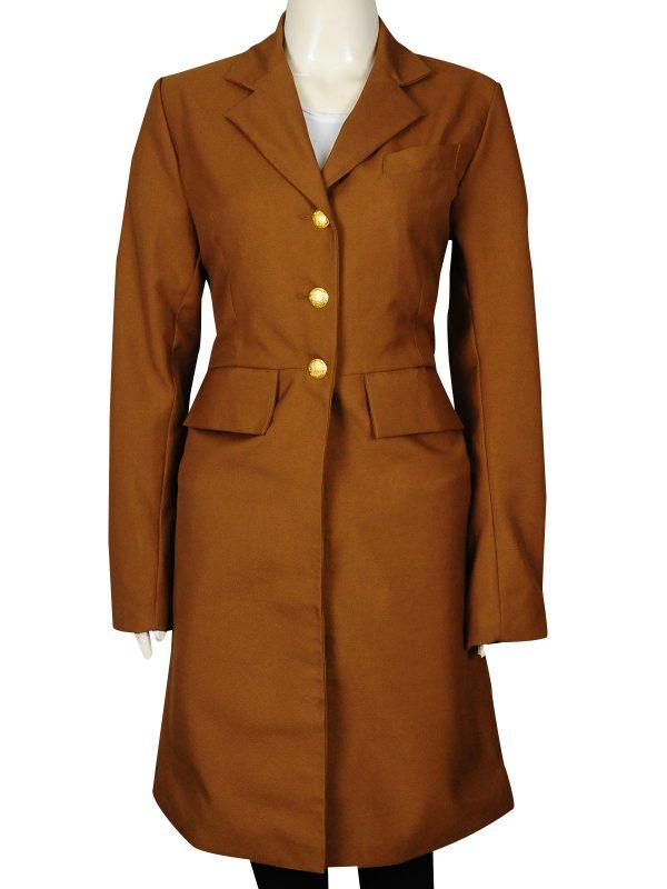 stylish brown female coat, slim fit long coat for female