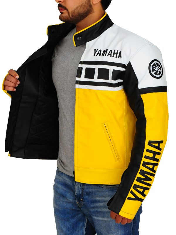 white harley davidson biker jacket, men yellow yamaha biker jacket,