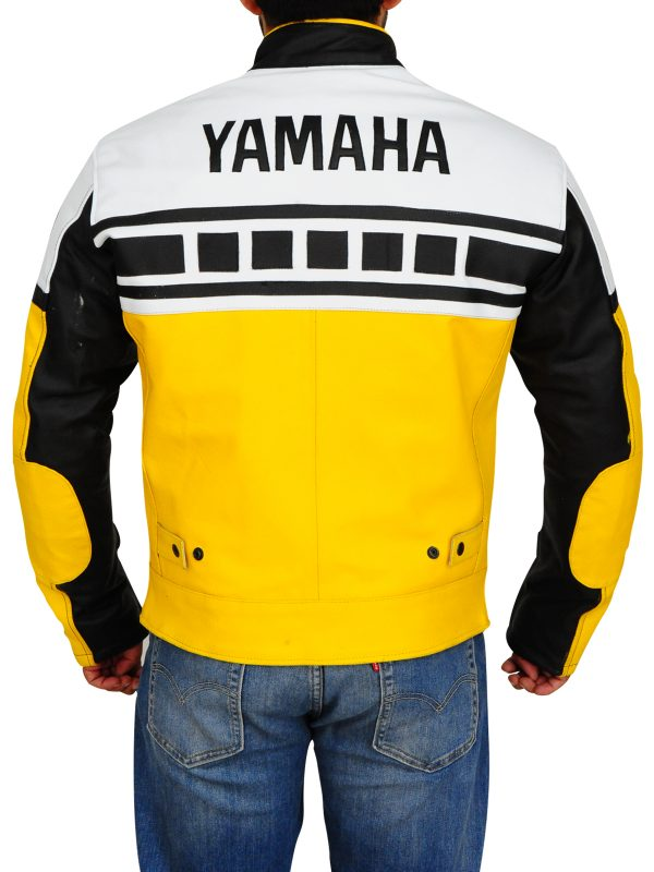 yamaha biker jacket for men, yamaha yellow biker leather jacket for men,