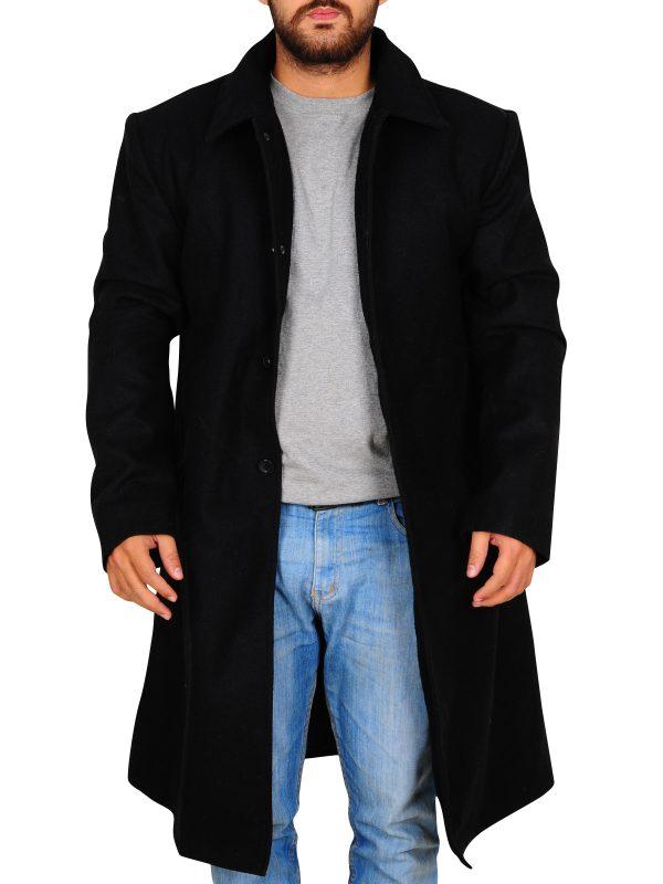celebrity black trench coat, office wear trench coat