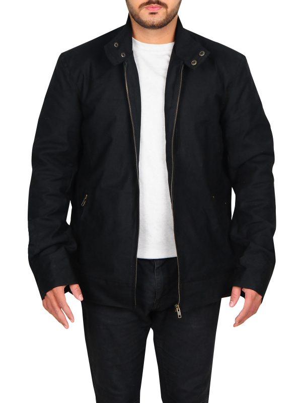 simple black cotton jacket, fitted black cotton jacket