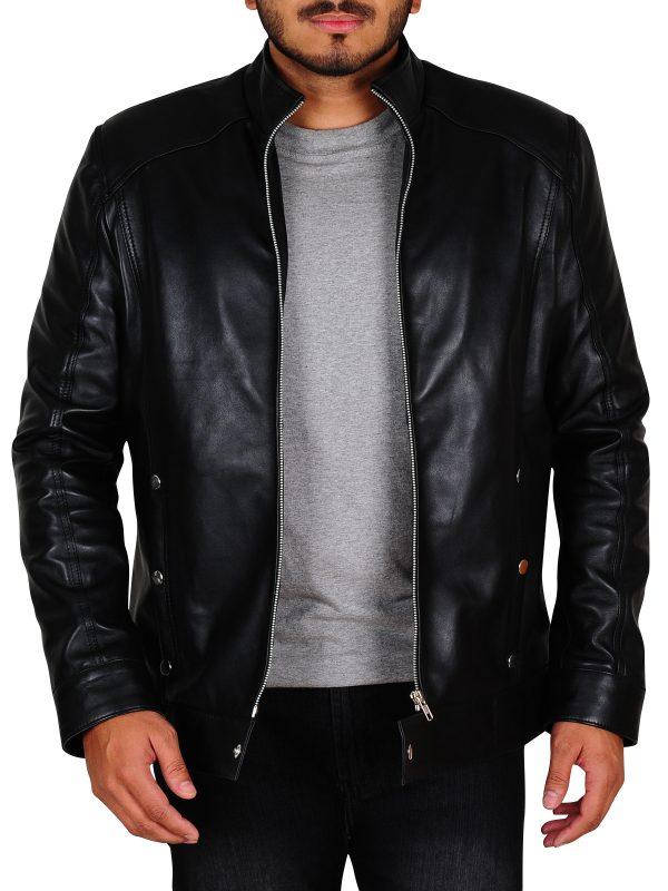 trendy black leather jacket, stylish black leather jacket