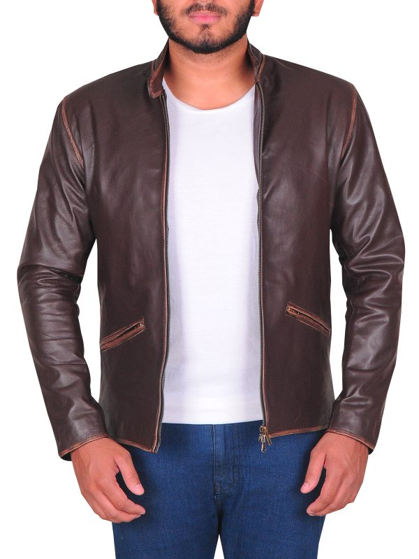 classy brown leather jacket,brown jacket for men