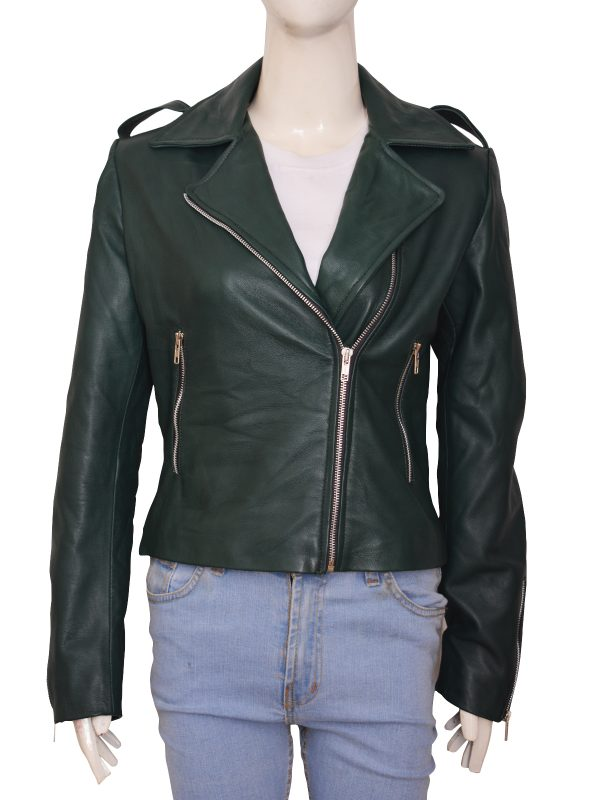 super cool teen girl leather jacket, green leather jacket for girls